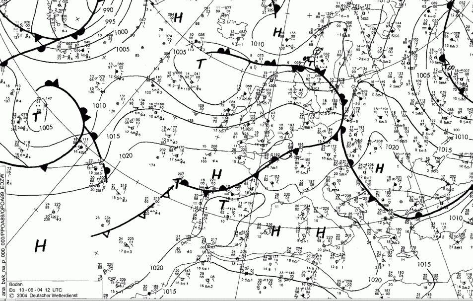 Bodenwetterkarte 12 UTC
