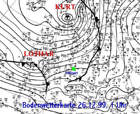 Bodenwetterkarte vom 26.12.1999, 1 Uhr (DWD)