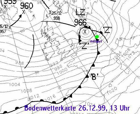 Bodenwetterkarte vom 26.12.1999, 13 Uhr (Brit.Wetterdienst)