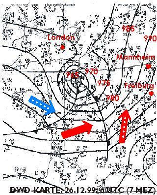 Bodenwetterkarte vom 26.12.1999, 7 Uhr (DWD)